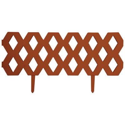 "Забор ""Ромб"" декоративный, гибкий L=1,2м, H=22 см (2шт по 22*60см и 4 ножки) терракотовый"