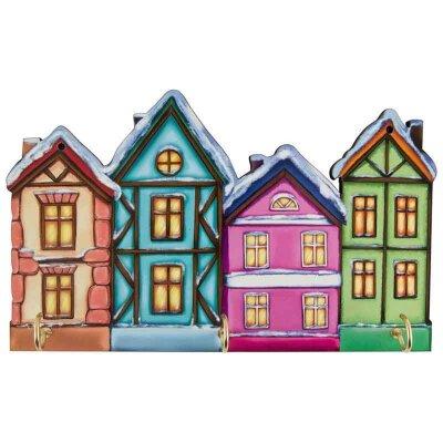"""Ключница для ключей в прихожую """"4 Дома"""" 075 дерево, картон 22х14х0,6 см"""