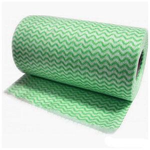 Салфетки хозяйственные в рулоне с перфорацией 25х30 см, зеленая волна, 20 шт