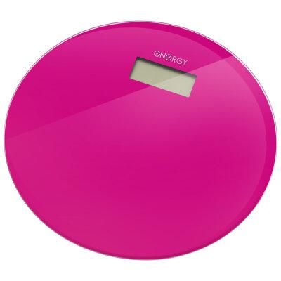 Весы круглые напольные электронные до 180 кг ENERGY EN-420 RIO-C стеклянные, Фуксия