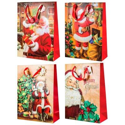 """Подарочный пакет с новогодней символикой """"Дед мороз-01"""" 30x12x39,5 см"""