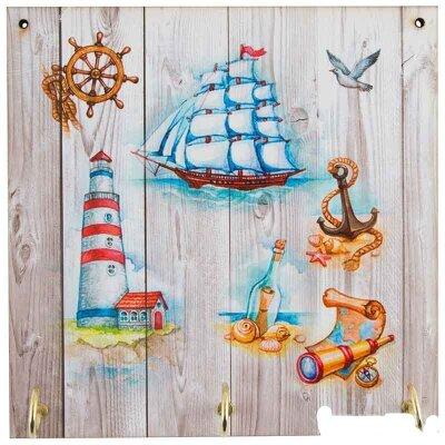 "Настенная вешалка для ключей ""Море"" 076 16х16х0.6 см открытая, картон, дерево"