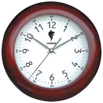Часы круглые настенные 27 см LEONORD LC-67 плавный ход корпус - металл, дерево, пластик