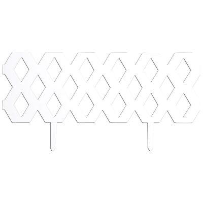 "Забор ""Ромб"" декоративный, гибкий L=2,4м, H=22см (4шт по 60см и 8 ножек) белый"