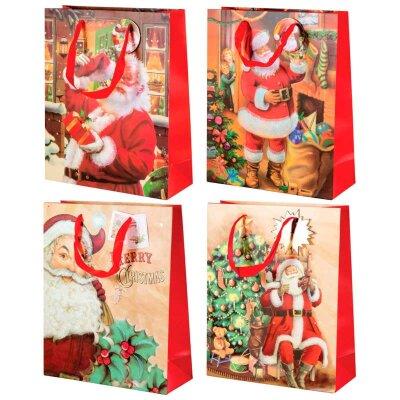"""Подарочный пакет с новогодней символикой """"Дед мороз-02"""" 26x10x32 см"""