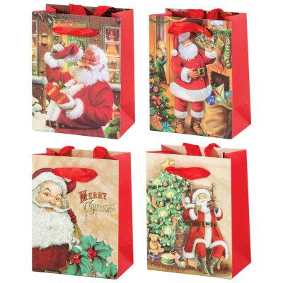 """Бумажный пакет с новогодней символикой """"Дед мороз-03"""" 12x6.8x15.5 см"""