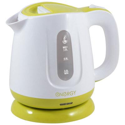 Электрический чайник пластиковый 1 л ENERGY E-234 1100 Вт со съемным фильтром, диск бело-зеленый