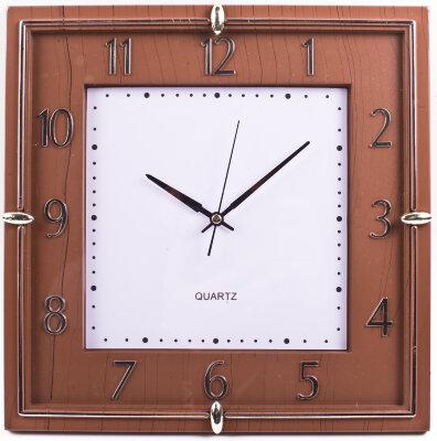 """Часы квадратные настенные 28х28 см MAXTRONIC MAX-8615 """"Каштан"""" """