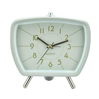 Часы будильник настольные на батарейках ENERGY EA-01, 14.6х6.6х14.1 см Серый