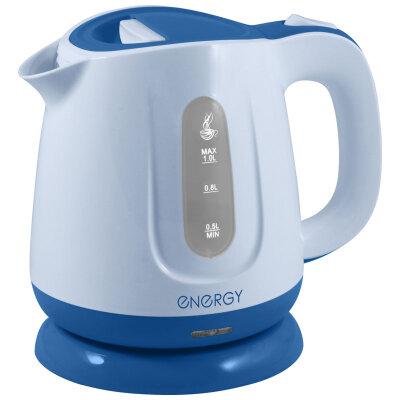 Электрический чайник пластиковый 1 л ENERGY E-234 фильтр 1100 Вт, диск синий
