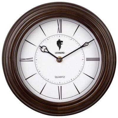 Часы круглые настенные кварцевые 26 см LEONORD LC-69 в деревянном ободе