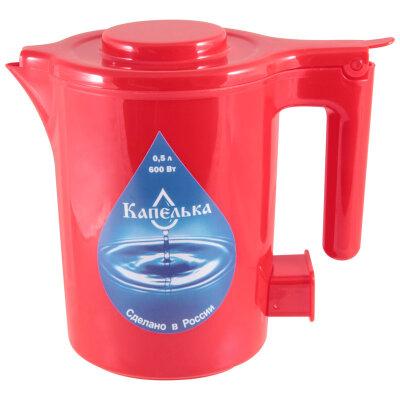 Мини чайник электрический на 0.5 л Капелька 500 Вт, красный