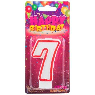 Свеча цифра для торта 7 из парафина