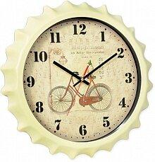 Часы круглые настенные Велосипед 33 см MAX-9875 корпус пластиковый