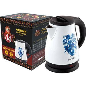 МАТРЁНА MA-003 Чайник стальной электрический 1.7 л белый гжель