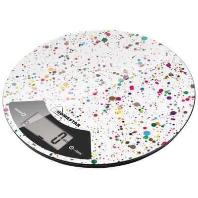 Весы кухонные круглые до 7 кг HOMESTAR HS-3007 со стеклянной поверхностью