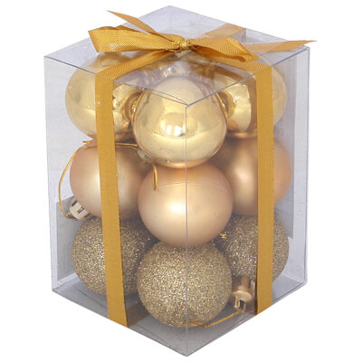 Набор матовых и глянцевых елочных шаров 4 см PB4-12SMB-G 12 шт золотые