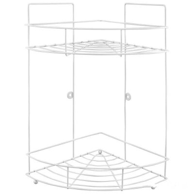 Полка навесная угловая двухъярусная для ванной комнаты 22x22x38 см W2348AP-2 Рыжий кот
