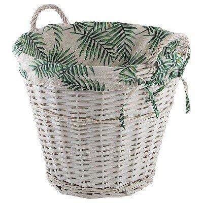 """Корзина для хранения """"Пальма"""" с текстильным вкладышем круглая с двумя ручками"""