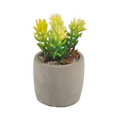 Искусственный цветок в горшке для декора Разновидность семейства суккулентовых высота 11-15 см