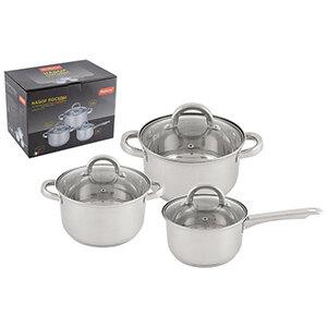 Набор посуды Mallony MEDIANO-SET-6 состоит ковша 1.9 л, 2-х кастрюль 2.6 л и 3.6 л с крышками из нержавеющей стали