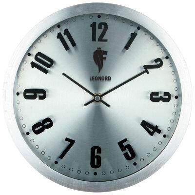 Часы круглые настенные 25 см LEONORD LC-72 с металлическим ободком и плавным ходом