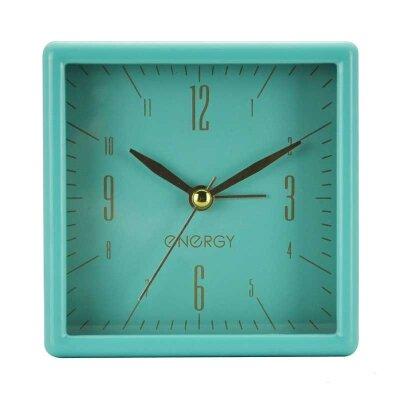 Часы будильник настольные на батарейке ENERGY EA-07 квадратный, салатовый