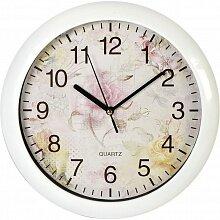 Часы круглые настенные 27.5 см MAX-8383-2 циферблат с рисунком цветов