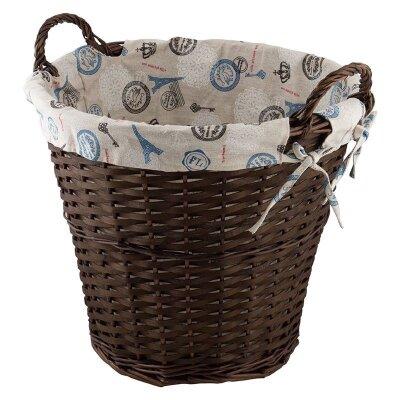 """Корзина для хранения """"Французский шик"""" с текстильным вкладышем круглая с двумя ручками"""