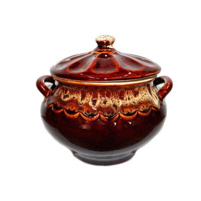 Супница керамическая с крышкой коричневая