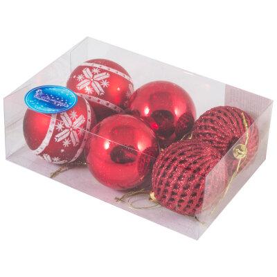 Новогодние елочные шары 6 см SYCB17-013 с рисунком наборе 6 штук