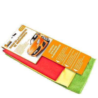 Салфетки для автомобиля: для стекла, супервпитывающая, замшевая Рыжий Кот CMFS-02/3 3 штуки из микрофибры