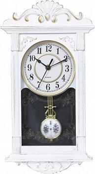 Часы настенные белые с маятником 22х41 см MAX-9797W кварцевый механизм, пластиковый корпус