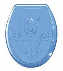Сиденье жесткое для  унитаза Лилия 104-402-00-02 голубое 370х450 мм