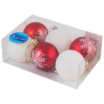 Набор новогодних елочных шаров белые и красные 6 см SYCB17-020 6 шт