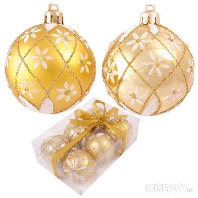 Набор новогодних шаров на елку 6 см PBD6-6-807-G 6 штук золотистые
