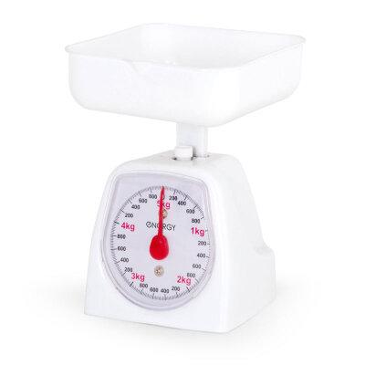 Весы кухонные механические 5 кг с чашей ENERGY EN-406МК-W Белые