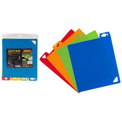 Гибкие разделочные доски 4 шт. 32,5х27 см красная, оранжевая, зеленая, синия