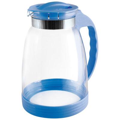 Кувшин стекло 2.5 л Brocca-2500 Mallony с крышкой и пластиковой ручкой, цвет - синий