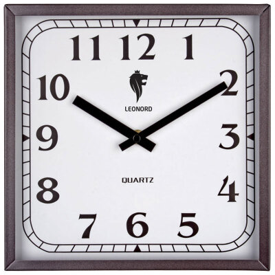 Часы настенные без секундной стрелки 27х27 см LEONORD LC-74 квадратные