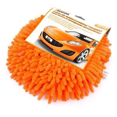 Губка для мытья и полировки автомобиля 19 см CS-R1 Рыжий КОТ из микрофибры