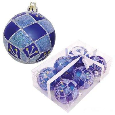 Набор новогодних шаров на елку 6 см PBD6-6-882-B 6 штук синие