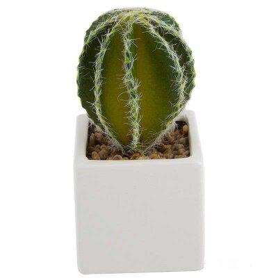 Искусственный цветок в керамическом горшке Кактус 14x6x6 см SYSG18-110