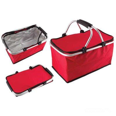 Складная сумка холодильник каркасная CB-7046, 48х27х24 см, красная