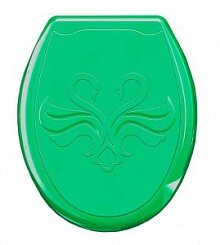 Сиденье пластиковое на унитаз жесткое с рисунком Лебедь 104-405-00-07 салатовое