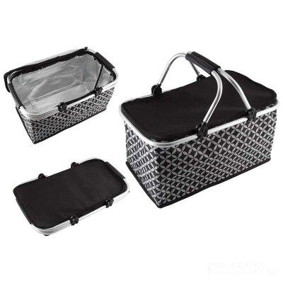 Складная сумка холодильник ECOS CB-7046-1 с алюминиевой рамой 48х27х24 см черная с белым