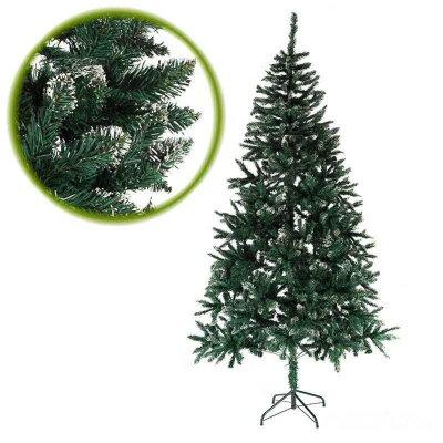 Ель новогодняя искусственная для дома 210 см 1100 веток зеленая с белым