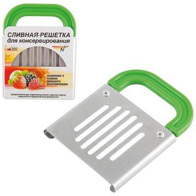 Крышка решетка для слива жидкости банок при консервировании 13x10x1 см металлическая