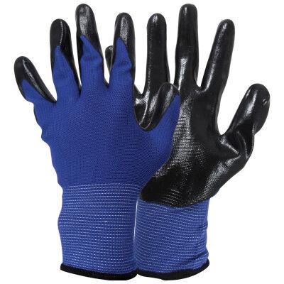 Перчатки садовые с нитриловым покрытием ладони размер 9 L PARK EL-N126 из полиэстера , цвет синий с черным