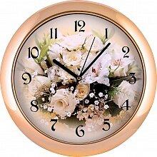 Часы круглые настенные с цветами 27.2 см MAX-9559А Невеста кварцевые